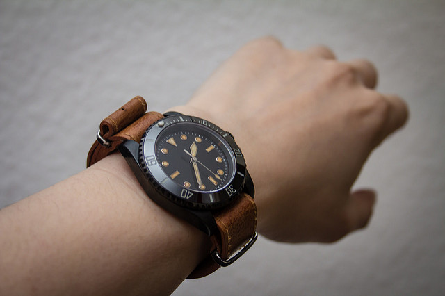 Leather NATO watch strap for men